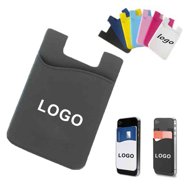 Adhesive silicone phone wallet, phone card holder