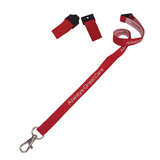 Woven lanyard with safety breakaway